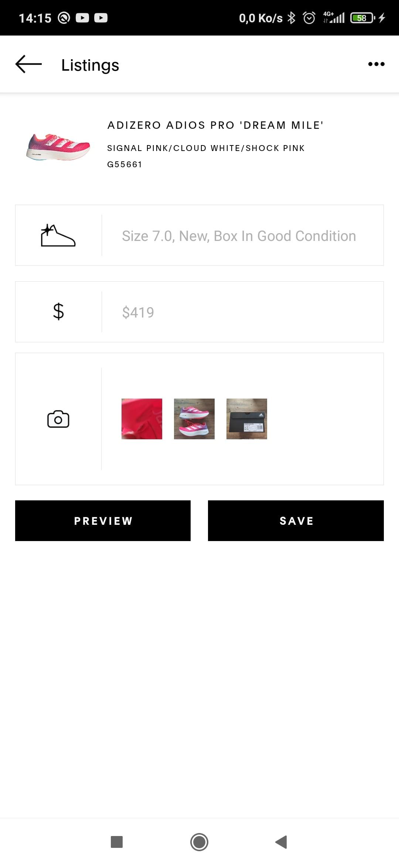 Exemple de page résumant ton annonce GOAT avant la mise en vente de la sneaker