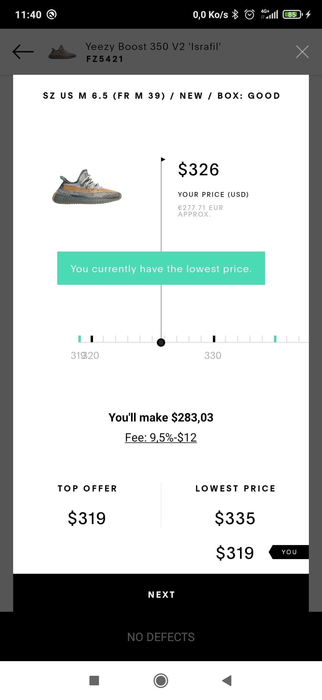 Information nécessaires pour choisir le prix de vente d'une paire de sneakers sur Goat