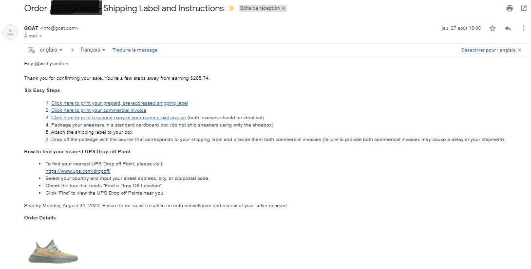 Email avec les liens vers les étiquettes UPS à imprimer et consignes d'envoi