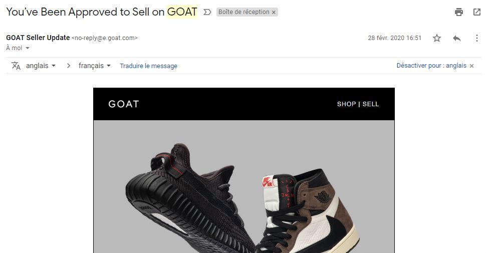 Capture d'écran de l'mail de confirmation de la validation de ton compte GOAT