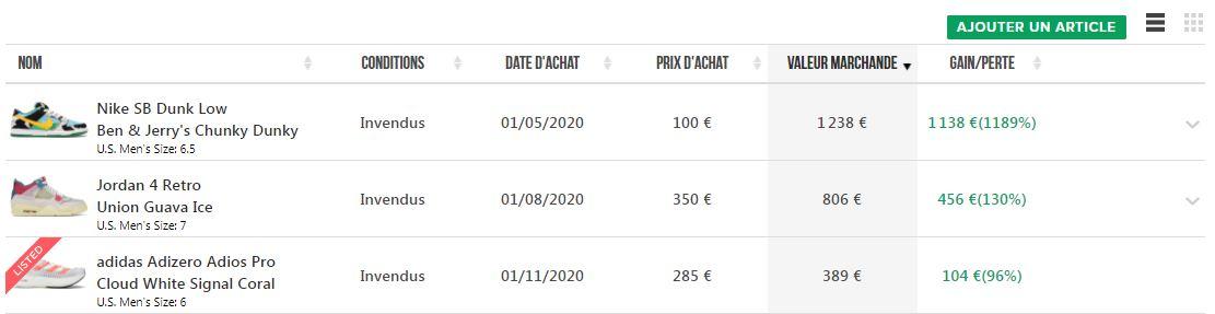 Capture d'écran du listing de baskets ajoutées au portfolio de Stock.com