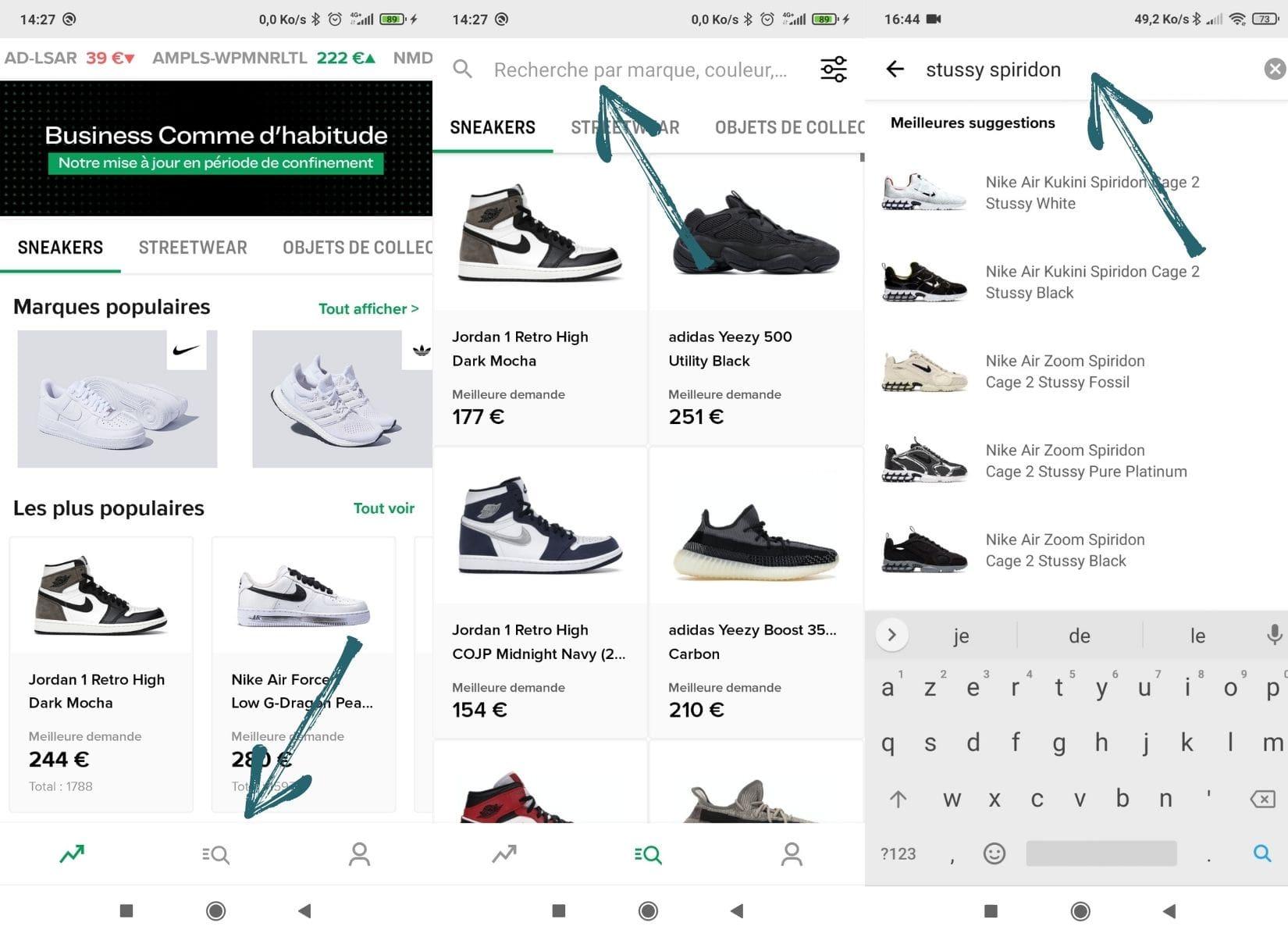 Recherche d'une paire de sneakers à partir de la page d'accueil de Stockx