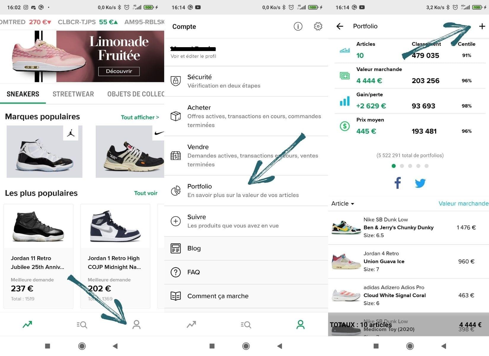 Différentes captures d'écran du Portfolio de Stockx afin de gérer la vente de tes paires de sneakers